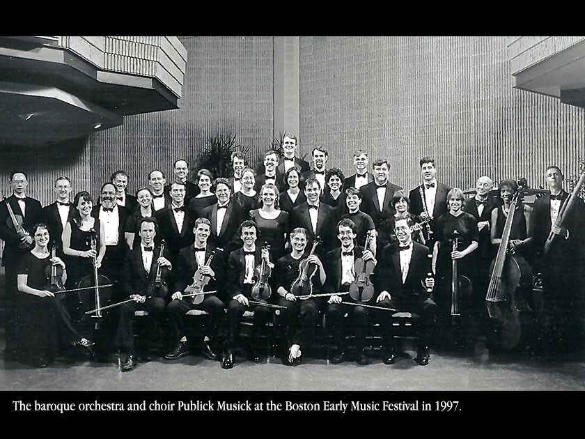 The baroque orchestra and choir Publick Musick at the Boston Early Music Festival in 1997.